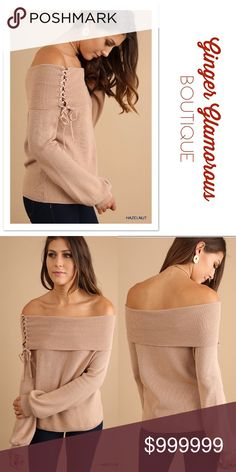 AVAILABLE 11/3 ✨COMING SOON!✨   Off Shoulder Fold-Over Sweater with Drawstring Detail COLOR: Hazelnut Sweaters