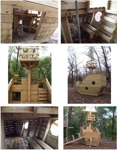 playhouse swing set plans | Pirate Ship | Plans to build a childrens wooden Pirate Ship Playhouse