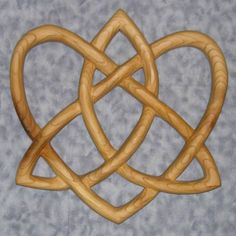 Trinity Love Knot-Heart Shaped Wood Carving-Irish Love Knot Variation | signsofspirit - Woodworking on ArtFire