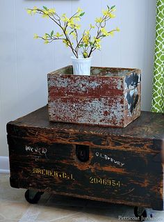 Chippy Turquoise Crate & Trunk Table On Wheels
