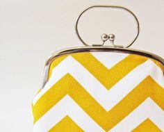 Frame purse with handle big yellow chevron stripes. $45.00, via Etsy.