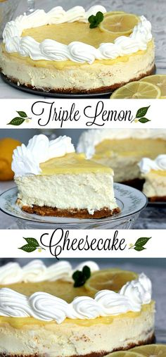 delicious, lemony cheesecake ~ it is a fabulous dessert. Though the recipe contains lemon juice and lemon zest as wel.Creamy, delicious, lemony cheesecake ~ it is a fabulous dessert. Though the recipe contains lemon juice and lemon zest as wel. Lemon Desserts, Lemon Recipes, Just Desserts, Delicious Desserts, Dessert Recipes, Yummy Food, Lemon Cheesecake Recipes, Lemon Meringue Cheesecake, Juice Recipes