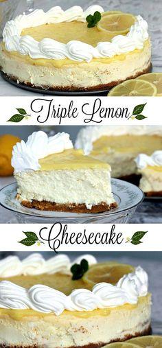 Lemon lovers recipe for creamy triple Lemon Cheesecake.