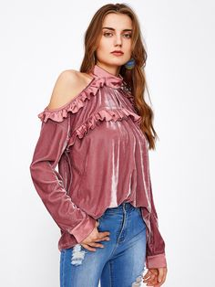 67266e2f07644e To find out about the Keyhole Frilled Open Shoulder Velvet Top at SHEIN,  part of our latest Blouses ready to shop online today!