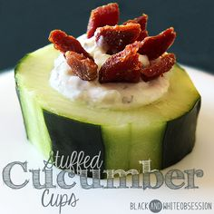 Yumm! | Super Bowl Sunday Party Appetizer Stuffed Cucumber Cups | www.blackandwhiteobsession.com