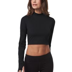 The Crop features a mock neck, thumbholes, and open back. Bonded accents at the shoulder offer a polished ...