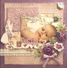 **~ BABY LOVE ~**  ((Scrapbook Paper - Add on Stickers of All Styles, Shapes, Size w/a touch of ribbon..... Make a Frame or Design a Card!!