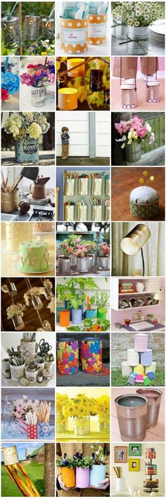 Older tin Cans = lots of craft ideas with cans. I can't wait to try my own DIY creative for my office and office Tin Can Crafts, Fun Crafts, Diy And Crafts, Arts And Crafts, Recycling, Recycle Cans, Diy Projects To Try, Craft Projects, Craft Ideas