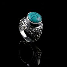 NATURAL TURQUOISE GEMSTONE MENS RINGS SIZE 6.75 US 925 STERLING SILVER KJR282 #Unbranded