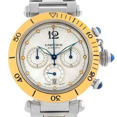 Cartier Pasha 38mm Steel 18K Yellow Gold Chrono Watch W31036T6