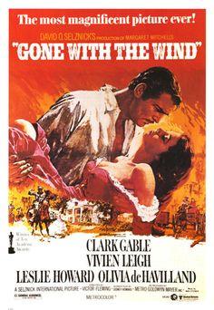 2. Gone With The Wind. <br />Aunque la película fue realizada originalmente en 1939, este poster data de 1966 cuando se re estrenó este clásico del cine.