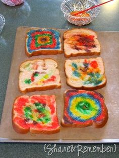 Rainbow Painted Toast Small amount of milk & food coloring Paint on bread. White works best. Put in the toaster (if not too wet) or oven & eat!