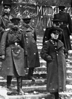 World War II, in Russia – the Great Patriotic War (22 June 1941 – 9 May 1945). Marshal Georgy K. Zhukov (right) and Russian officers in the ruins of the Reichstag. Berlin, Germany, 1945.