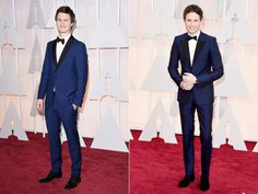 The Navy Suit at the Oscars - Ansel Elgort and Eddie Redmayne