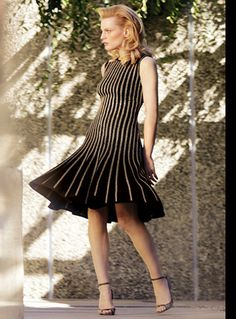 Spring 2015, St. John: caviar and gold knit dress