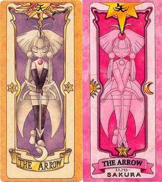 矢 = The Arrow = La Flecha Descripción: Flecha es una carta violenta que junto con The Shot (El disparo), The Sword (La Espada) y The Shield (El escudo) le sirven a Sakura como armas. Flecha es una de las pocas cartas que nunca se ve como es capturada en el anime, sin embargo en la primera película se ve su captura. Permite atacar y defenderse con las flechas.