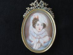 Antique Hand Painted Miniature Portrait Beautiful by KISoriginals Miniature Portraits, Antique Lace, Lady, My Etsy Shop, Frames, Miniatures, Beautiful Women, Bronze, Bows