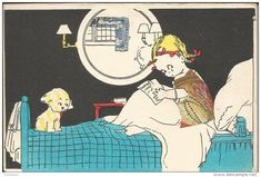 A VOIR ILLUSTRATEUR BEATRICE MALLET ENFANT CHIEN LIT  CP DOREE GLASE FENETRE VETEMENT ART DECO - Illustrateurs & Photographes