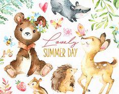 Hermoso día de verano. Animales del bosque clip arte acuarela