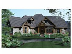 Rugged Craftsman style meets a luxurious (yet practical) layout in plan DHSW73227. Isn't the stone gorgeous?