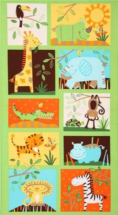 green panel jungle animal fabric Timeless Treasures USA