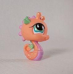 Littlest Pet Shop Orange/Peach Seahorse Tear Green Eyes #802  #Hasbro