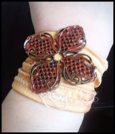 Rustic Red Metal Flower Sari Wrap Bracelet by Ariellograms on Etsy, $15.00