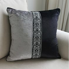 European Luxury Black Grey decorative throw pillow almofadas cojines decorativos cushions home decor seat chair cushion for sofa Grey Cushion Covers, Cushion Cover Designs, Diy Pillow Covers, Throw Pillow Cases, Chair Covers, Lumbar Pillow, Sewing Pillows, Diy Pillows, Couch Pillows
