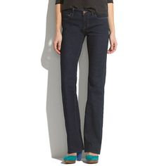 Super slimming, elongating bootleg jeans. Love the darkwash with mid-waist and gradual opening - makes this jean look long. $90 from Madewell