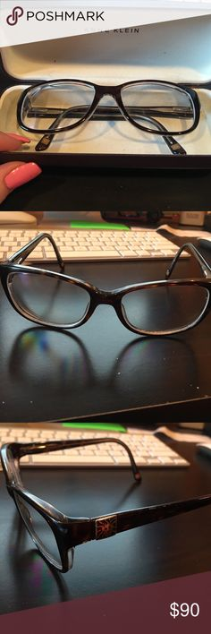 Anne Klein glasses Anne Klein glasses. They have my prescription in them so would just need new lenses. Good condition and comes with a matching Anne Klein case. They are a dark tortoise color so they look almost black but go with everything! Always willing to negotiate prices! Anne Klein Accessories Glasses