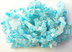 Millefiori Beads, Pale Blue Millefiori, Chip Beads, Blue Chips, 34 Inch Strand, Millefiori Chips, Glass Beads, Beading Supplies, UK Seller
