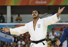 Furious Lebanese judoka Nacif Elias accused Argentine opponent Emmanuel Lucenti of gamesmanship after he was disqualified for an illegal armlock, during their men's -81kg judo contest match of the Rio 2016 Olympic Games in Rio de Janeiro. (Jack GUEZ / AFP)