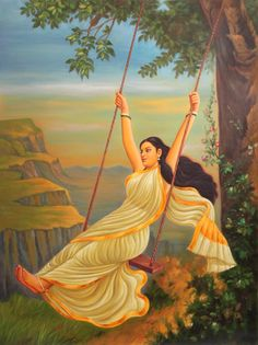 Lady Swinging, Oils Oil Painting on CanvasArtist: Anup Gomay Rajasthani Painting, Rajasthani Art, Indian Women Painting, Indian Art Paintings, Ravivarma Paintings, Swing Painting, Indian Art Gallery, Composition Painting, Dancing Drawings