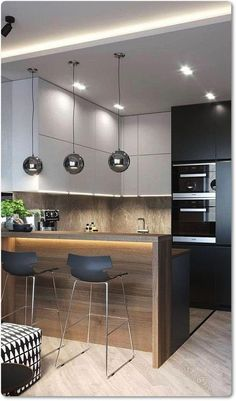 35 Small Kitchen Designs for Kitchen Remodel. Modern wooden shelf recommendation for narrow kitchens - Do you have a small kitchen? Planning a luxury kitchen? Need help with kitchen decor? You want to c - Small Kitchen Plans, Small Modern Kitchens, Modern Kitchen Interiors, Narrow Kitchen, Luxury Kitchen Design, Kitchen Room Design, Kitchen Cabinet Design, Kitchen Layout, Home Decor Kitchen