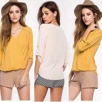 Wish | Elegant Women's Loose Long Sleeve Chiffon Casual Blouse Shirt Tops Blouse