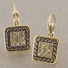 Square Crystal frenchback earrings New! Rhodium trim Crystal accent gold tone earrings Jewelry Earrings