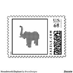 Houndstooth Elephant Stamp