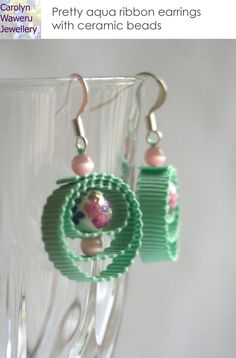 Ribbon and bead earrings