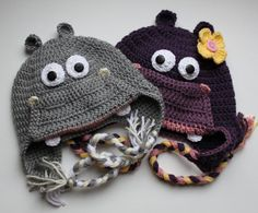 Crochet Hippo Hat -for Boy or Girl - size Newborn -  Adult   - Made to Order