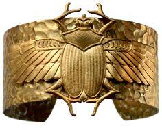 Mid 1900s Egyptian Revival Winged Scarab Bracelet, Gilt Brass: Erie Basin Antiques
