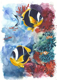 Original watercolor tropical fishes 9 1/2x13 1/2 by YuliaSheArt