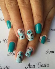 Flower Nail Designs, Pretty Nail Designs, Colorful Nail Designs, Nail Art Designs Videos, Best Nail Art Designs, Cute Spring Nails, Butterfly Nail, Flower Nails, Fancy Nails