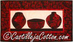 Asian Vases Quilt  $50 Free shipping  Order here www.castillejacotton.com  #AsianVaseWallQuilt
