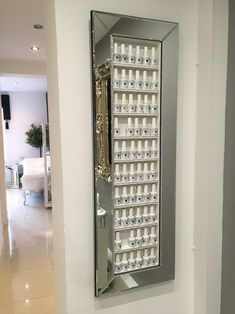 Items similar to Nail Polish Rack Display Frame Mirror Glass Style Space Saving Storage Idea for all your nail gels. on Etsy Nail Desk, Nail Room, Nail Polish Storage, Nail Polish Racks, Fake Nails Long, Beauty Room Salon, Spa Room Decor, Home Nail Salon, Space Saving Storage