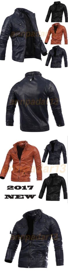Men Coats And Jackets: Black Men S Genuine Leather Jacket Fashion Fit Biker Motorcycle Jacket Red -> BUY IT NOW ONLY: $33 on eBay!