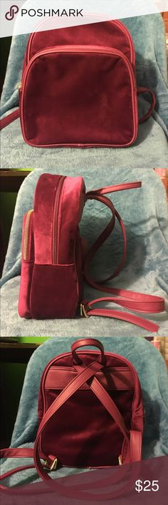 1d5e2898d33d ... Guess Bags Satchels. Velvet fashion backpack ❤ ❣ Cute little red  backpack. Very soft!