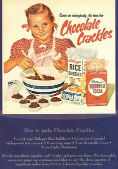 vintage Chocolate Crackles promotional advertisement with recipe here Retro Recipes, Old Recipes, Vintage Recipes, Cookbook Recipes, Retro Ads, Vintage Advertisements, Vintage Ads, Vintage Posters, Retro Diner