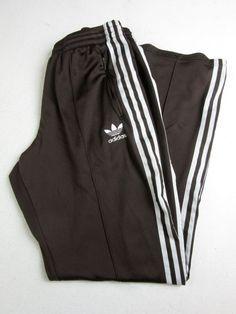 Mens Vintage 70 s Adidas Flare Tracksuit Bottoms Streetwear Brown White Medium