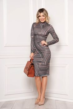 StarShinerS brown dress elegant midi pencil with graphic details with turtle neck long sleeved, turtleneck, long sleeves, slightly elastic fabric Brown Dress, Elegant Dresses, High Neck Dress, Turtle Neck, Detail, Long Sleeve, Fabric, Sleeves, Sweaters