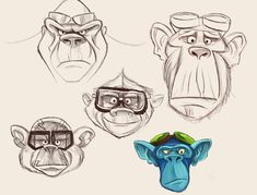 Airborne character exploration - i love looking at sketches and seeing where ideas come from. something about a monkey and flight goggles I find hilarious